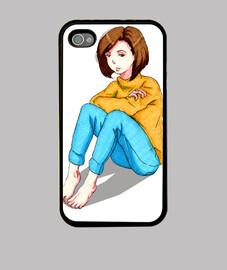 Chica Sentada. Funda iPhone 4, negra