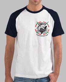 Chico, estilo béisbol, blanca y azul royal logo negro ikurriña corazón handi