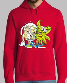 Chico, jersey con capucha, rojo