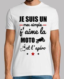 chico sencillo, moto, bebida, motera camiseta.