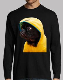 chien carlino carlin imperméable film jaune t-shirt homme