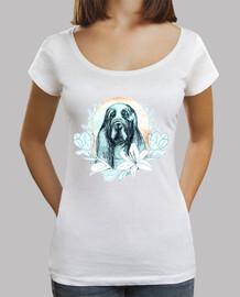chien de compagnie fille décolleté blanc à manches courtes
