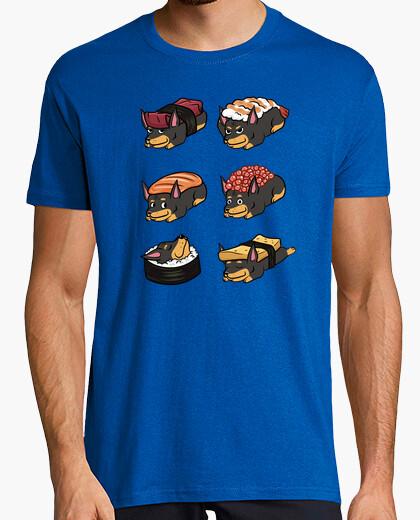 Tee-shirt chien dober man sushi nigiri