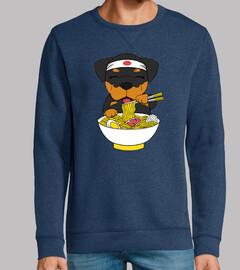 chien rottweiler manger des ramen