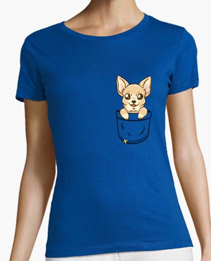 Camiseta chihuahua del bolsillo - camisa de la mujer