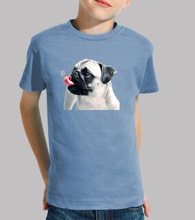 child, short sleeve, pug carlino blue tongue