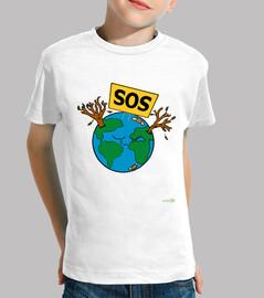 child t shirt - sos planet earth
