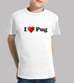 children shirt heart pug