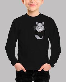 chinchilla gris bolsillo linda - camisa para niños