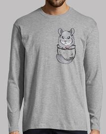chinchilla gris de poche mignon - mens manches longues