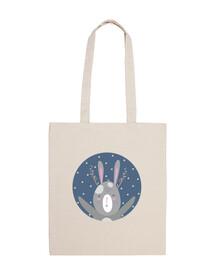 Christmas bunny...shine like a star! cotton bag