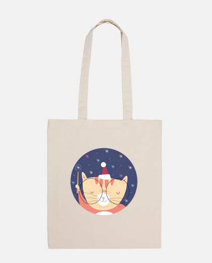 christmas cat ... believe in magic! cotton bag