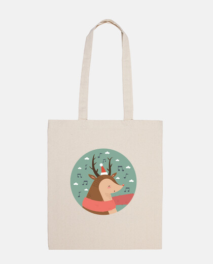 christmas deer .. do it la la la! cotton bag