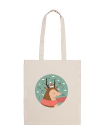 Christmas Deer .. Fa la la la la! Cotton bag