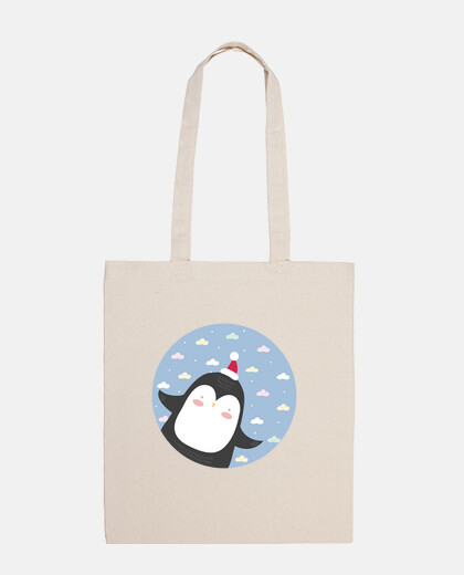 christmas penguin - fly high! cotton bag