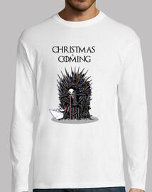 christmas sta coming t-shirt da uomo manica lunga
