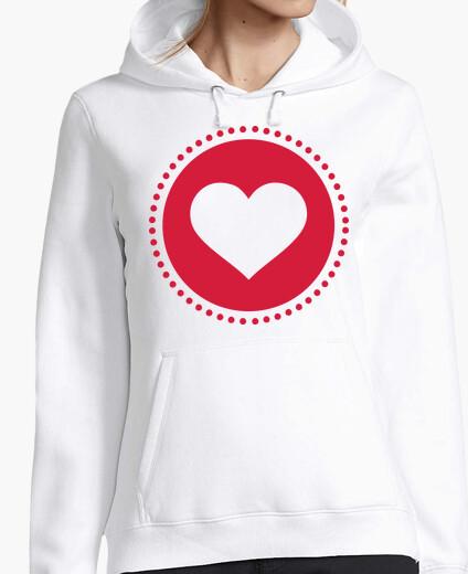 Sudadera círculo de corazones rojos