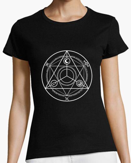 Camiseta círculo ocultura camisa de la mujer blanca