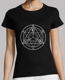 círculo ocultura camisa de la mujer blanca
