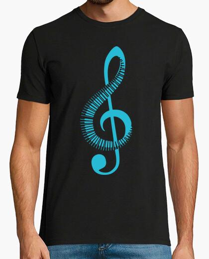 Tee-shirt clé de sol et piano bleu