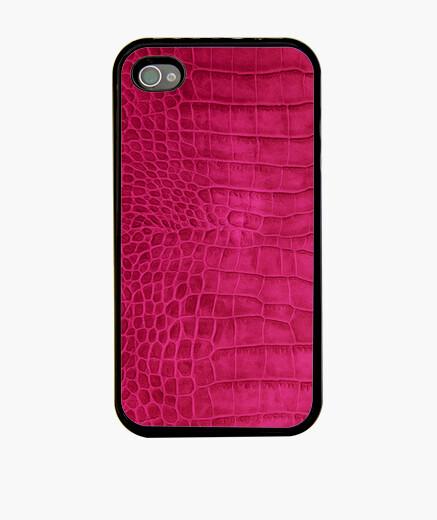 Funda iPhone cocodrilo cereza de cuero rojo