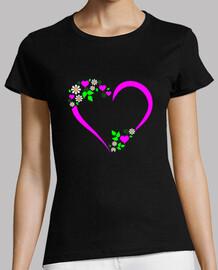 coeur rose et marguerites