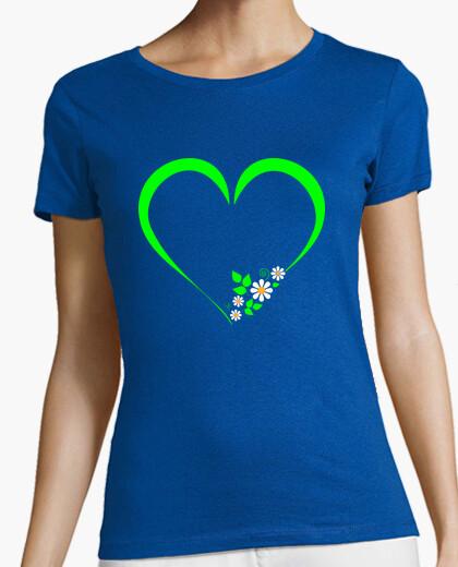 Tee-shirt coeur vert et marguerites