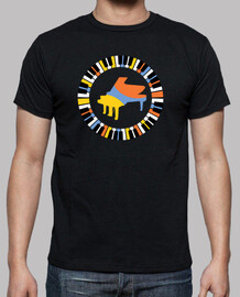 Colorful circular piano T-shirt