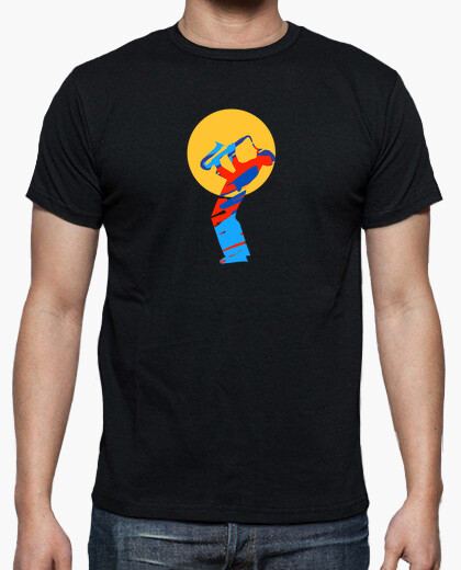 Colorful jazz saxophone player t-shirt