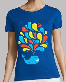 colorido remolinos feliz ballena de la historieta