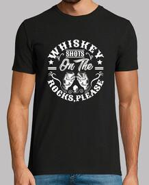 colpi di whiskey sugli scogli per favore divertente camicia con l'alcol.