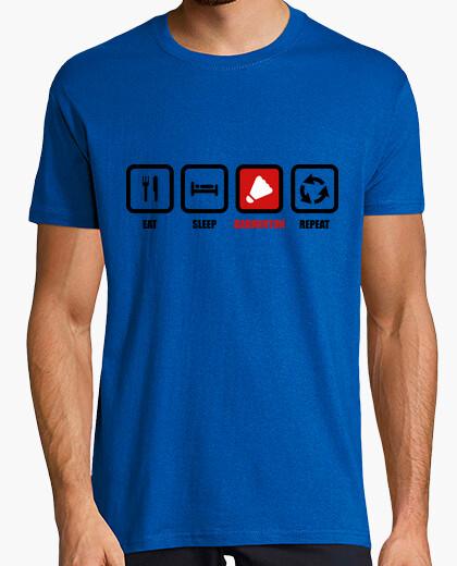 Camiseta coma, sueño, bádminton