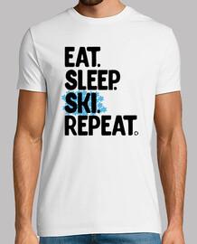 comer dormir esquiar