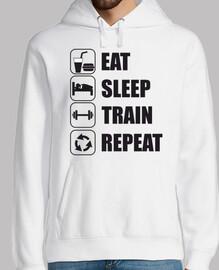 comer dormir tren repita