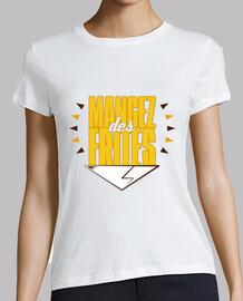 comer papas fritas - mujeres / blanco