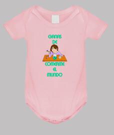 Cómete el mundo Body bebé, rosa