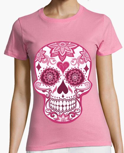 Tee-shirt cooltee crâne floral rose. disponible uniquement en latostadora