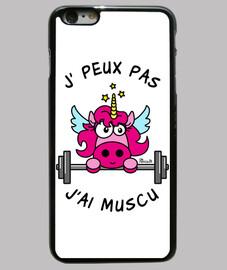Coque iPhone 6 Plus, Licorne Rose, J' Peux pas, J'ai Muscu