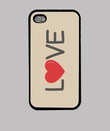 coque love iphone 4, noir
