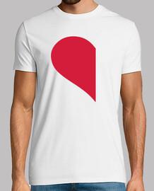 corazón medio izquierdo rojo