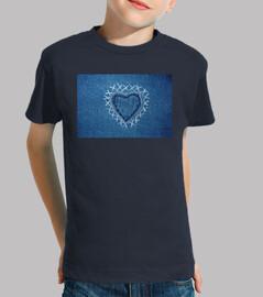 Corazón bordado en tela vaquera