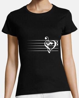 corazón de la música - camiseta de la mujer