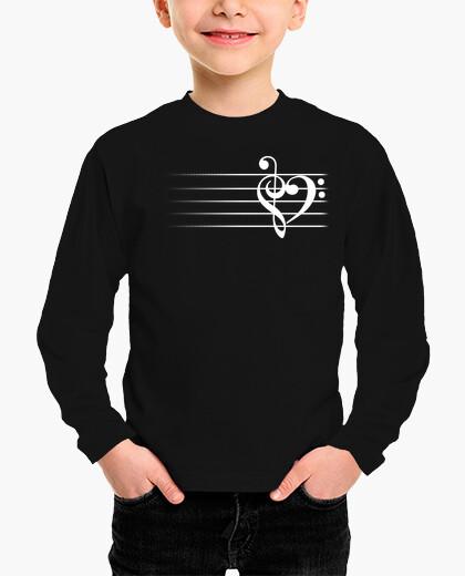 Ropa infantil corazón de la música - versión negra