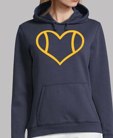 corazón de tenis amarillo