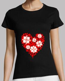 corazón rojo floral