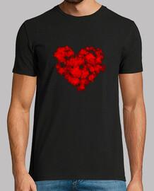 Corazón sangre hombre, manga corta, negra, calidad extra
