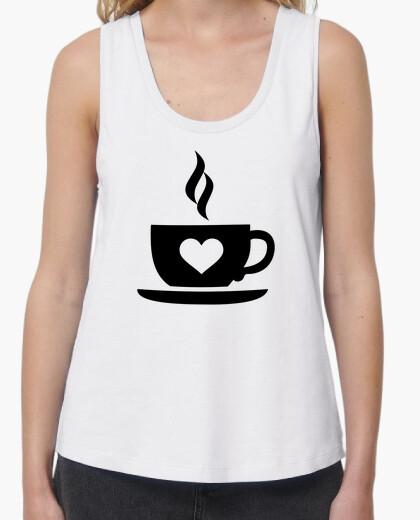 Camiseta corazón taza de café