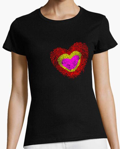 Camiseta Corazón Tricolor Huella Dactilar
