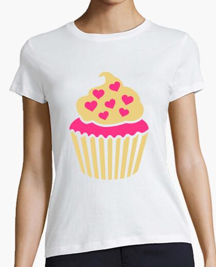 Camiseta corazones de color rosa de la magdalena
