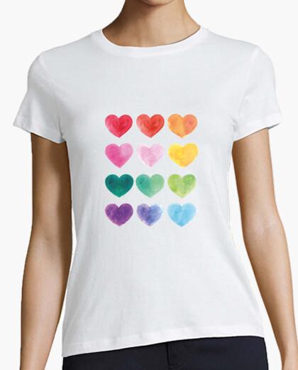Corazones de colores - camiseta básica...
